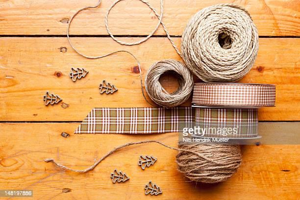 Close up of ribbon, string and shapes