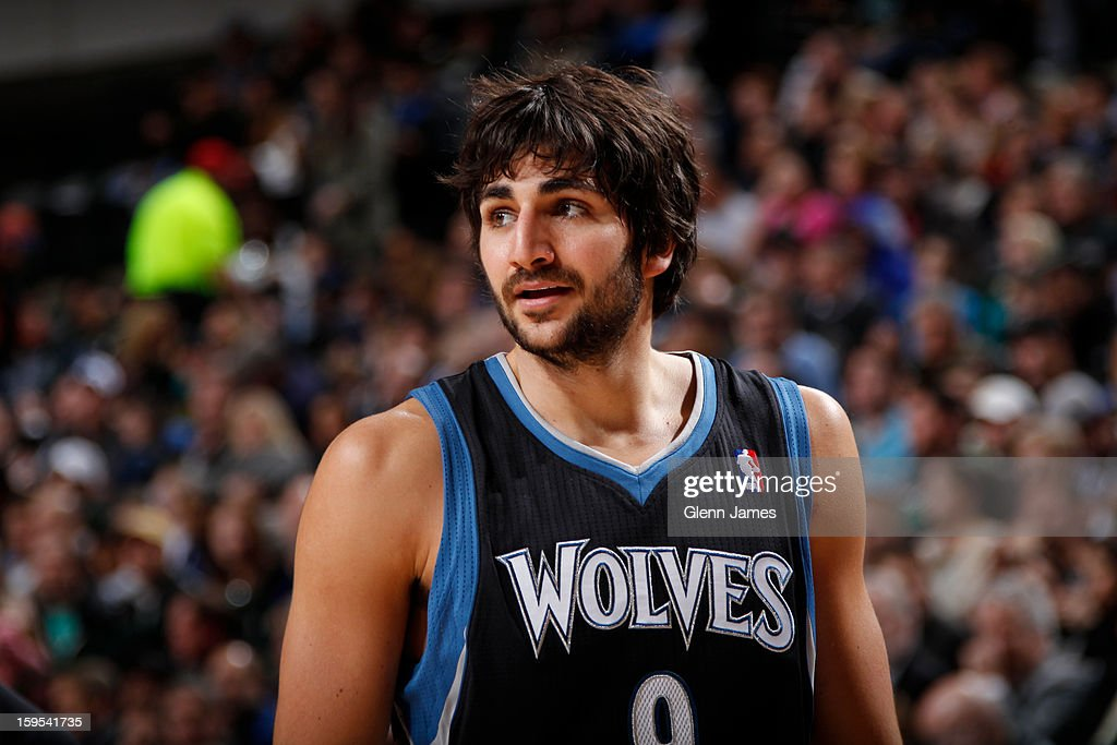 A close up of Ricky Rubio #9 of the Minnesota Timberwolves during the game against the Dallas Mavericks on January 14, 2013 at the American Airlines Center in Dallas, Texas.