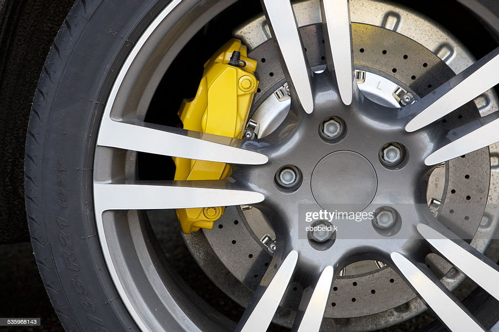 Close up of rims from a sport car : Stock Photo