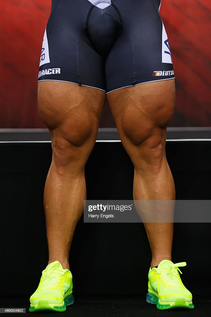 A close up of Robert Forstemann of Germany's legs as he stands on the podium after winning the Men's Team Sprint final on day one of the UCI Track Cycling World Cup at the Lee Valley Velopark Velodrome on December 5, 2014 in London, England.