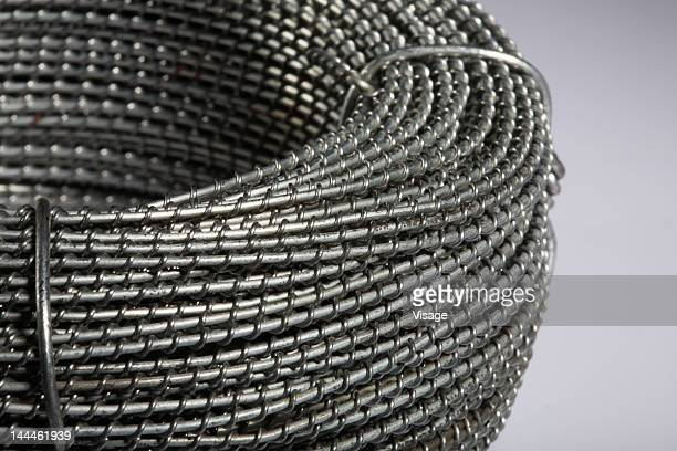 Close up of rolled fencing wire