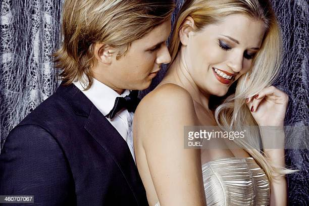 Close up of romantic glamorous young couple