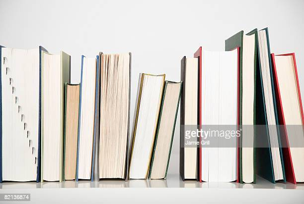 Close up of row of books