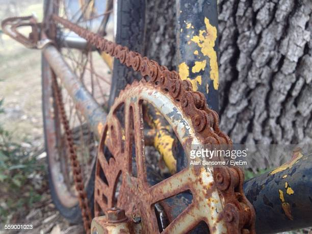 Close Up Of Rusty Bike Gear And Chain