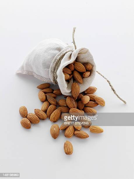 Close up of sack of almonds