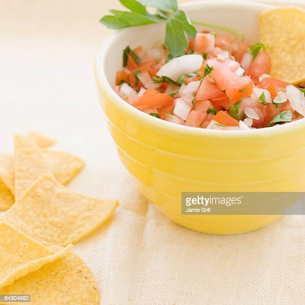 Close up of salsa and tortilla chips