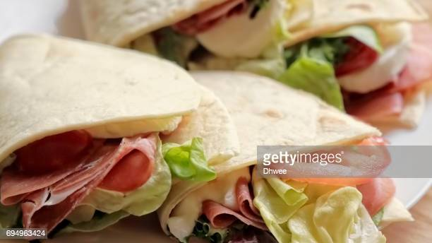 Close Up Of Sandwich Tortilla Wraps On plate