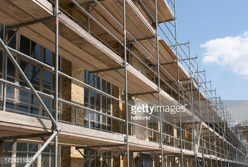 Close up of scaffolding along the side of a building