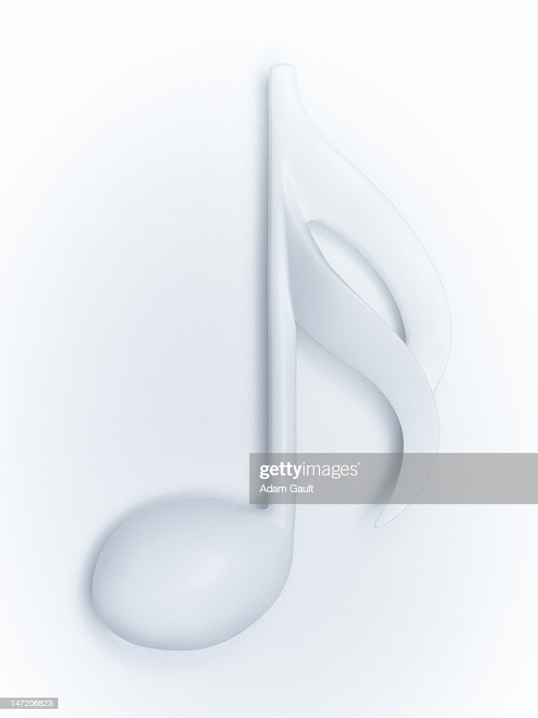Close up of semiquaver musical note on white background