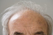 Close up of senior Hispanic man¿s balding head
