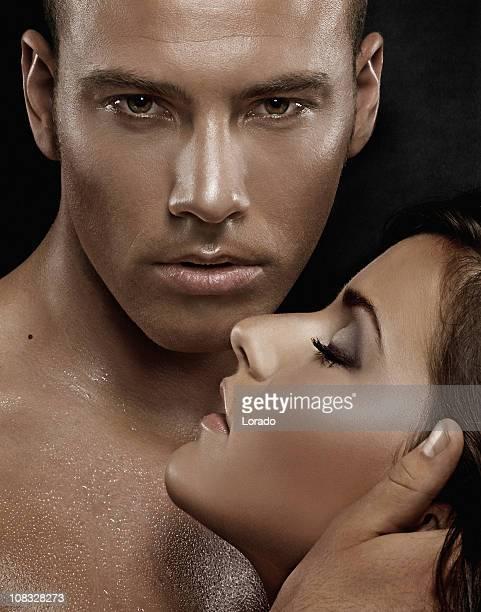 close up of sensual couple