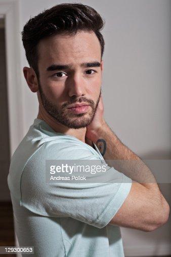 Close up of serious manÍs face : Stock Photo