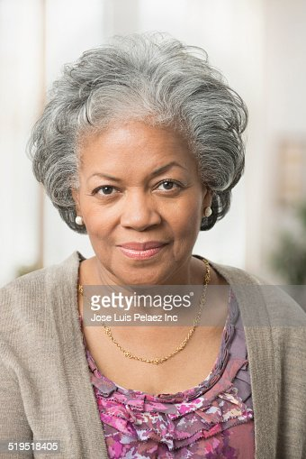 Close Up Of Serious Older African American Woman Stock Photo | Getty ...