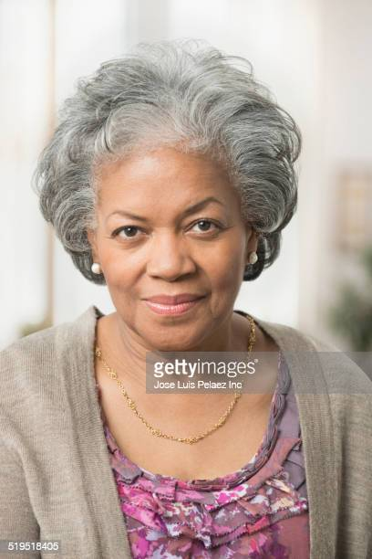 Close up of serious older African American woman