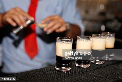 Close up of shots on bar : Stock Photo