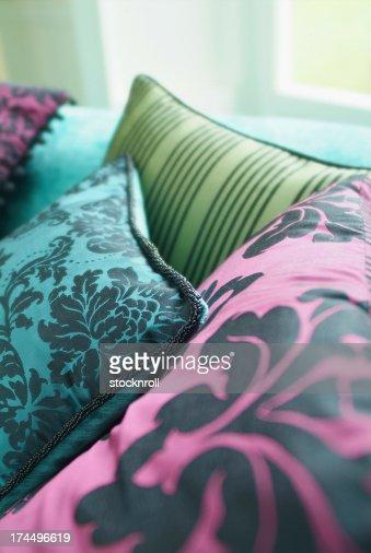 Close up of silk cushion : Stock Photo