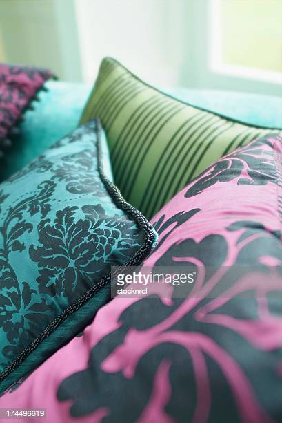 Close up of silk cushion