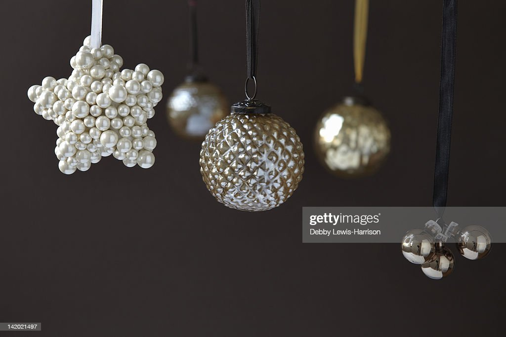 Close up of silver Christmas ornaments : Stock Photo