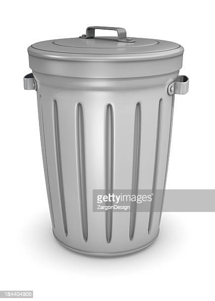 Close up of silver trash can isolated on white background