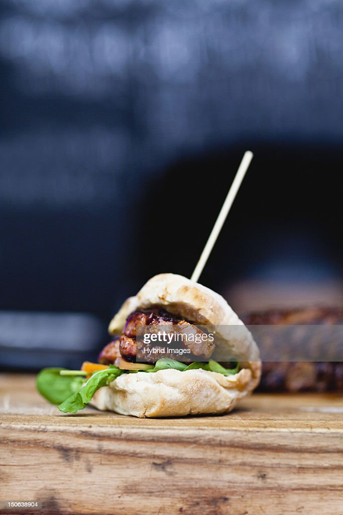 Close up of skewered sandwich