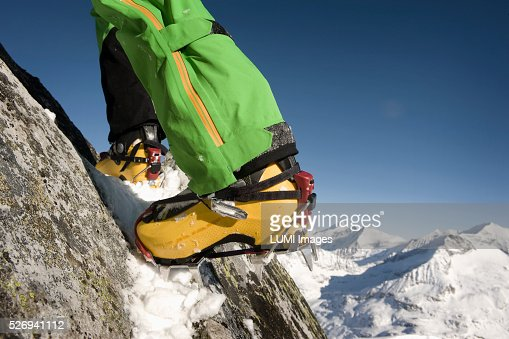 Close up of ski boot with capron, Weissenseegletscher, Salzburg, Austria : Stock Photo