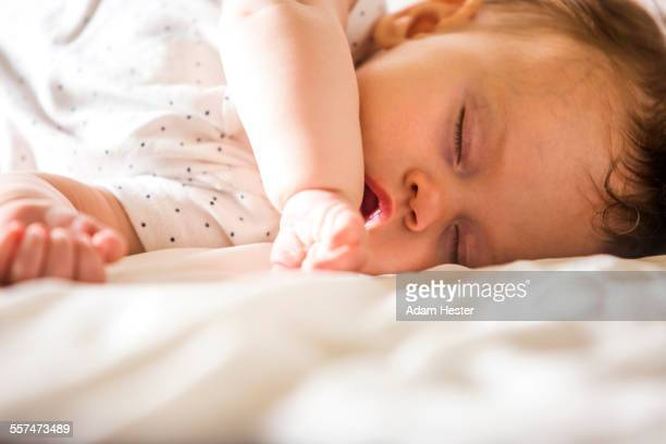 Close up of sleeping Caucasian baby girl