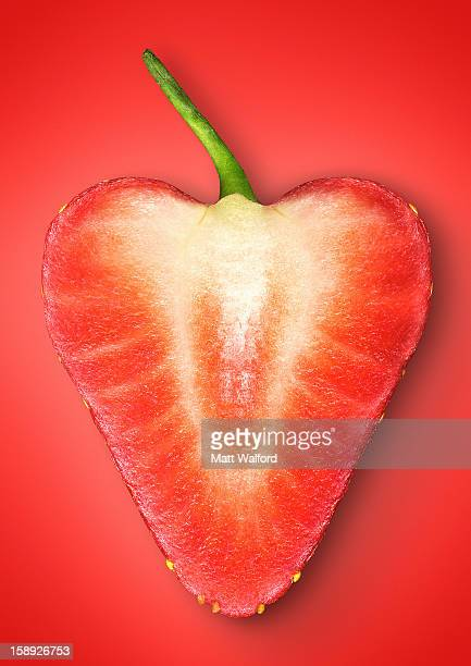 Close up of slice of strawberry