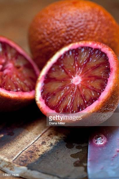 Close up of sliced blood orange