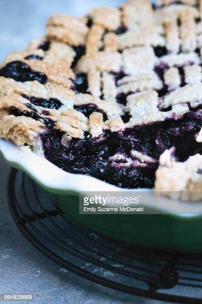 Close up of sliced blueberry pie