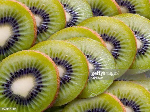 Close up of sliced kiwi fruit