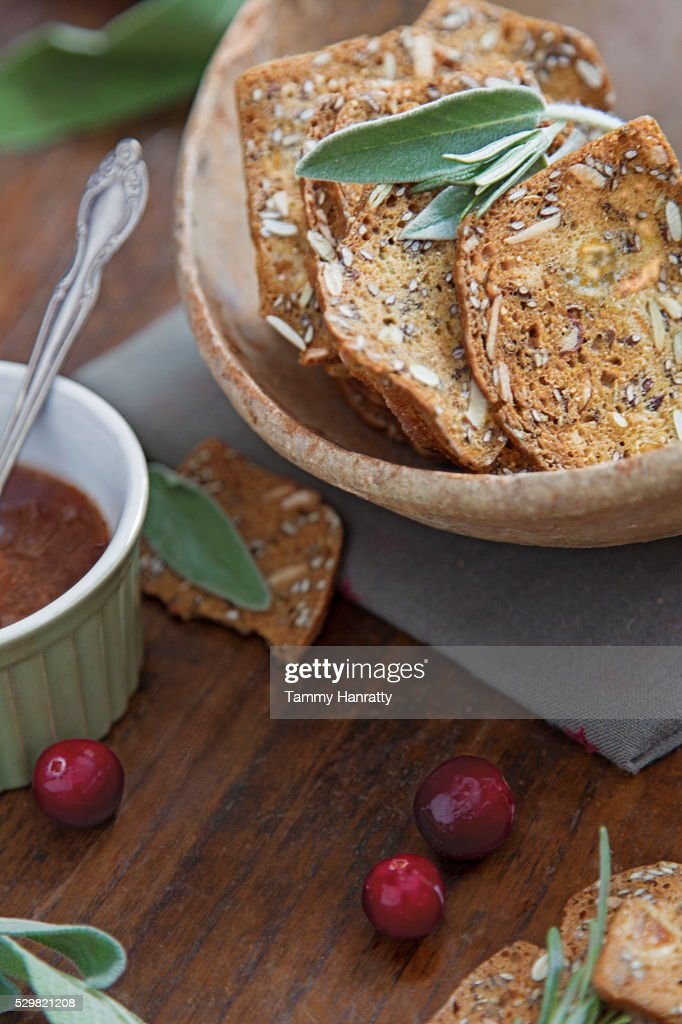 Close up of slices of bread in bowl : Stock Photo