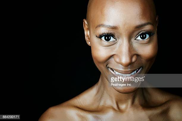 Close up of smiling face of African American woman