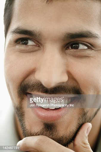 Close up of smiling man with beard : Stock Photo