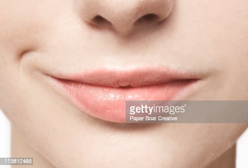 Close up of smiling, natural lips