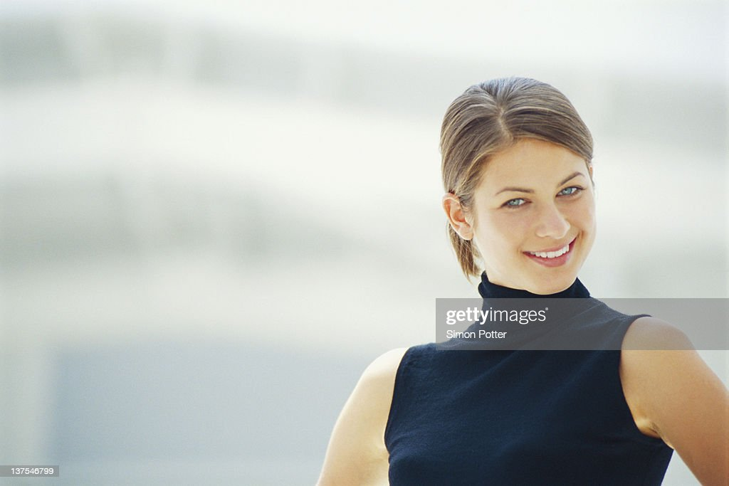 Close up of smiling womans face : Stock Photo