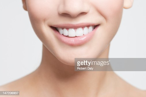 Close up of smiling woman's mouth