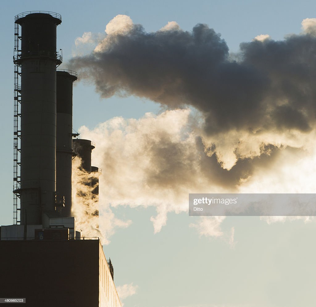 Close up of smoke stacks, New York, USA