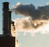 Close up of smoke stacks, New York, USA