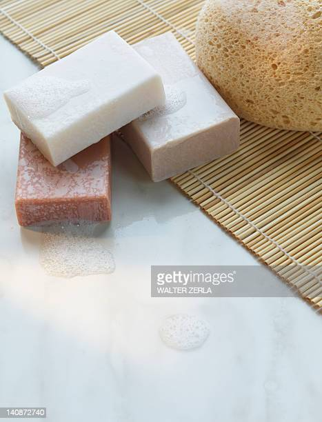 Close up of soap on straw mat