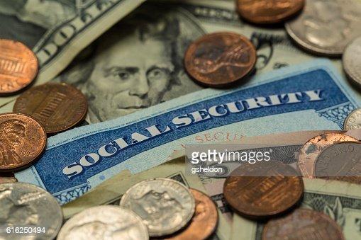Close Up of Social Security Card with Cash : Foto de stock