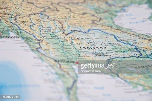 Close Up of south east asia map. : Bildbanksbilder