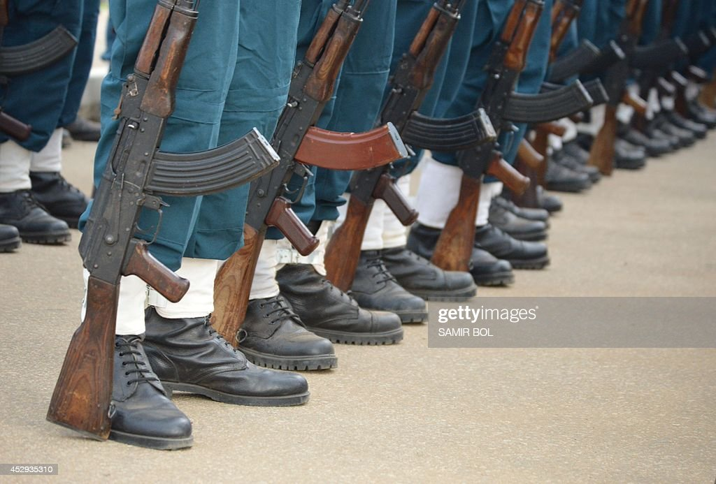 Close up of South Sudanese soldiers' rifles during a parade at the John Garang Mausoleum in Juba on July 30 2014 to celebrate the countrys 9th annual...