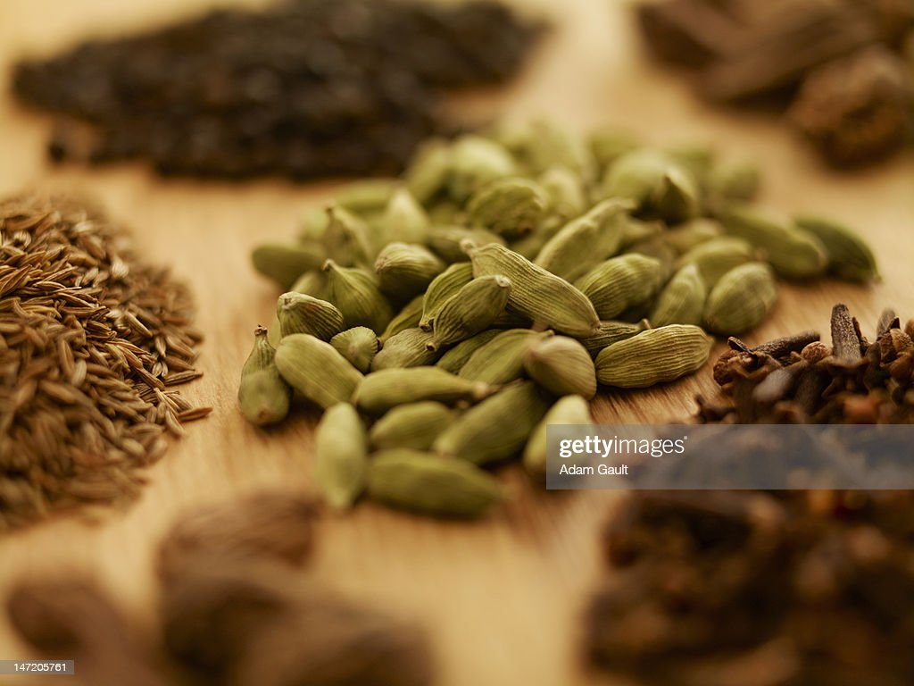Close up of spices on cutting board : Stock Photo