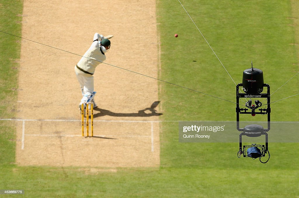 A close up of Spidercam as Michael Clarke of Australia bats during day one of the Second Ashes Test Match between Australia and England at Adelaide...