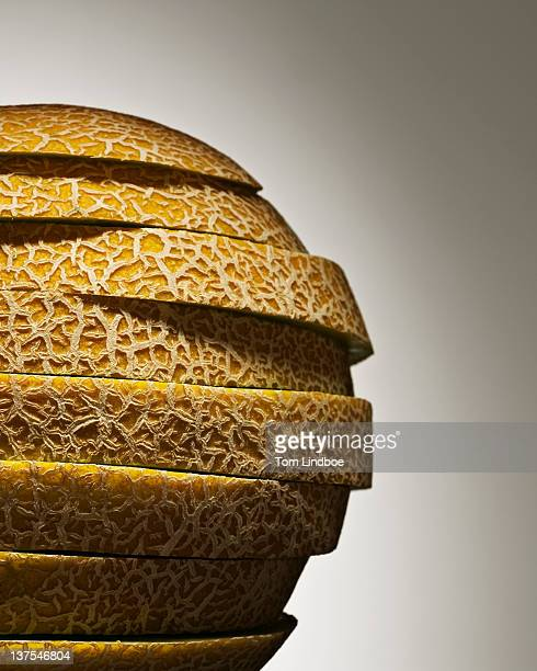 Close up of stack of melon slices
