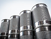 Close up of stacked aluminum cans