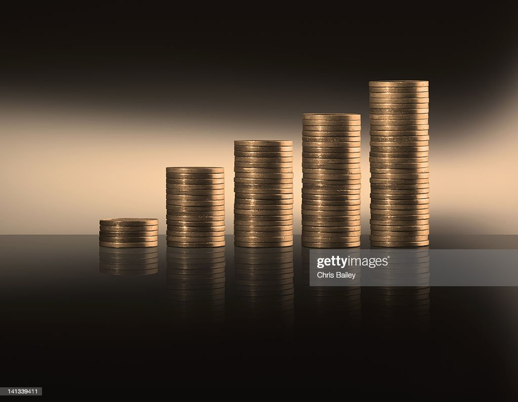 Close up of stacks of coins