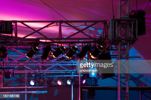 Close up of stage rigging and lights.