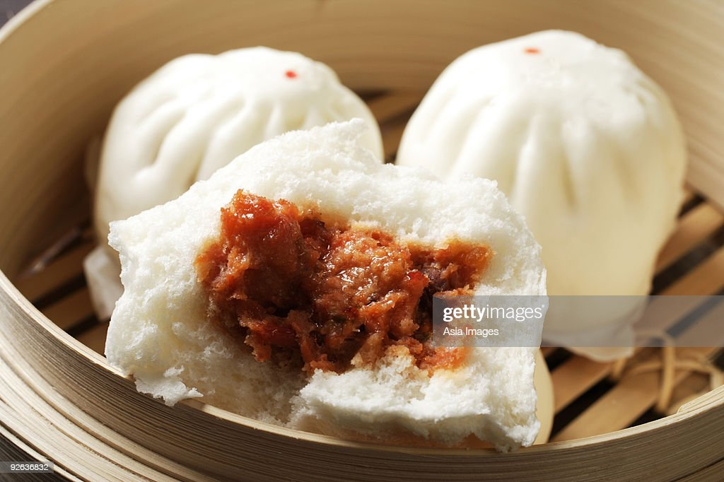 close up of steam bun, (bao) : Stock Photo