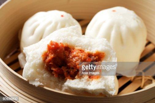 close up of steam bun, (bao)